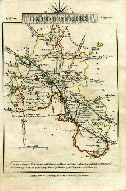 Oxfordshire County Map by John Cary 1790 - Reproduction